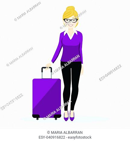 Executive female walking with her suitcase