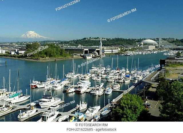 Tacoma, WA, Washington, Puget Sound, Thea Foss Waterway, marina, Mount Rainier