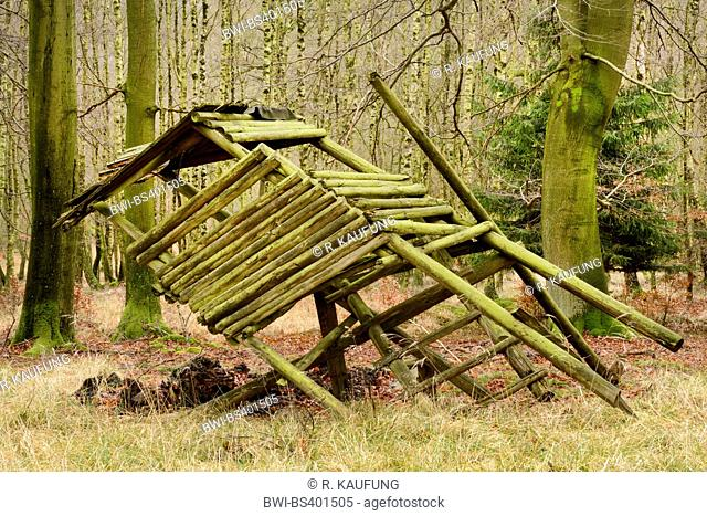 overturned raised hide, Germany, North Rhine-Westphalia, Sauerland, Arnsberg Forest Nature Park