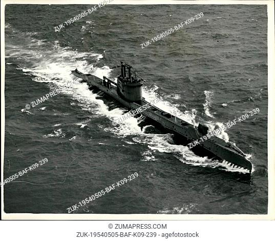 May 05, 1954 - British submarine returns after being 'Lost' for over an hour. The navy signal 'Subsmash one' was given yesterday - when the submarine H