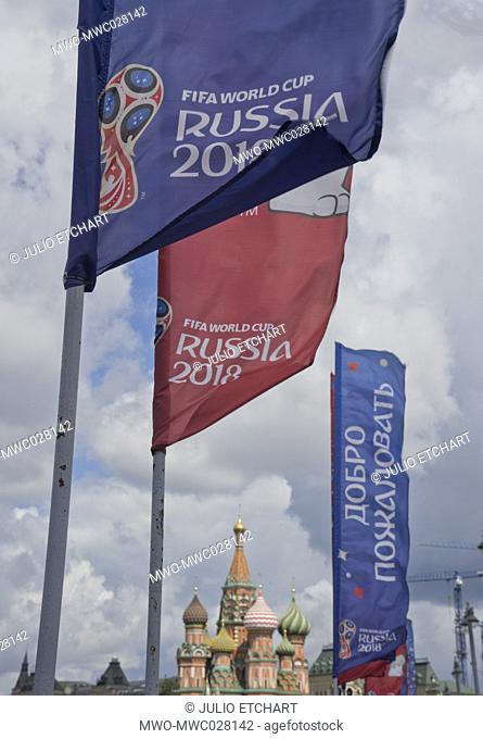 Russia football World Cup 2018 banners at Red Square in Moscow,Russia