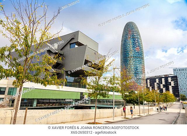 Agbar building and Design Museum of Barcelona, Barcelona, Spain