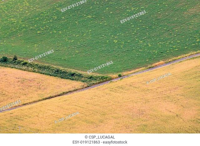 Aerial view of a corner between three fields