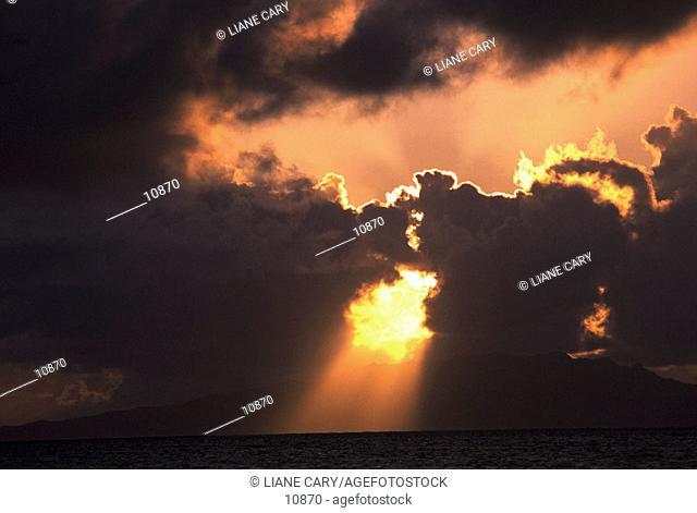Dramatic sun rays over the ocean