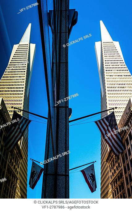 San Francisco, California, USA. The Transamerica Pyramid Building reflexed with American and Californian flags