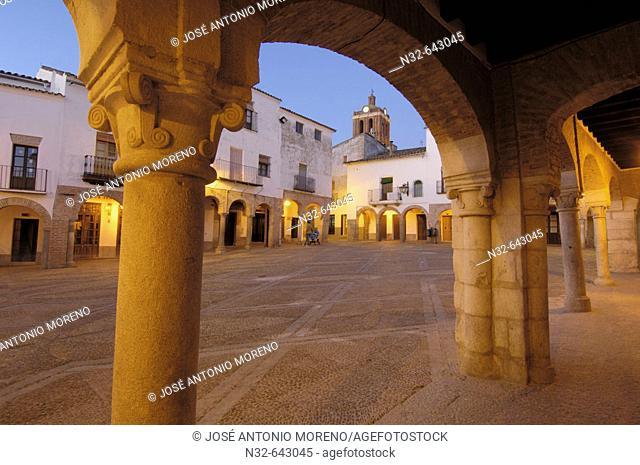 Plaza Chica at dusk. Zafra. Badajoz province, Extremadura. Spain