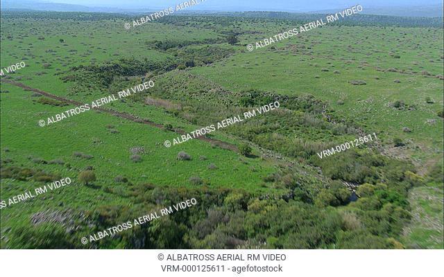 Aerial footage of wadi Zavitan in southern Golan Heights; Israel