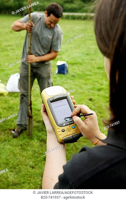 Finding GPS coordinates, sampling peat, climate change research, Neiker-Tecnalia, Unit of Environment, Belate, Navarra, Spain