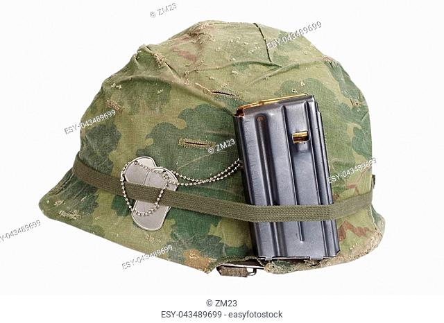 c1a7243f US Army helmet Vietnam war period with camouflage cover, magazine with  ammot and dog tags