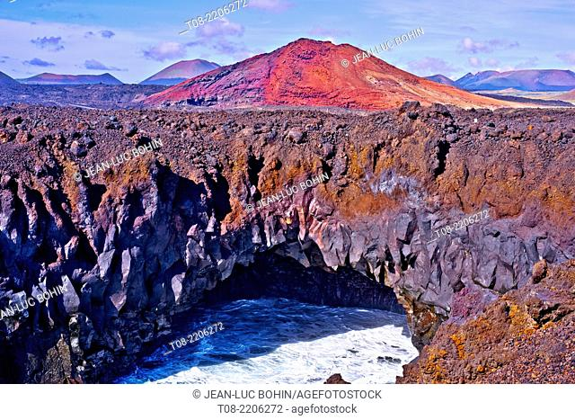 spain,canary islands,lanzarote : south west coast, los hervideros