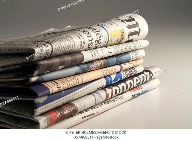 Stack of newspapers. Journaux
