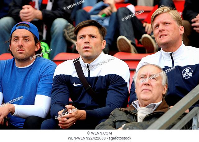 'TOWIE' star Mark Wright watches his brother play for Leyton Orient F.C. Featuring: Mark Wright Where: Leyton, United Kingdom When: 25 Apr 2015 Credit: WENN