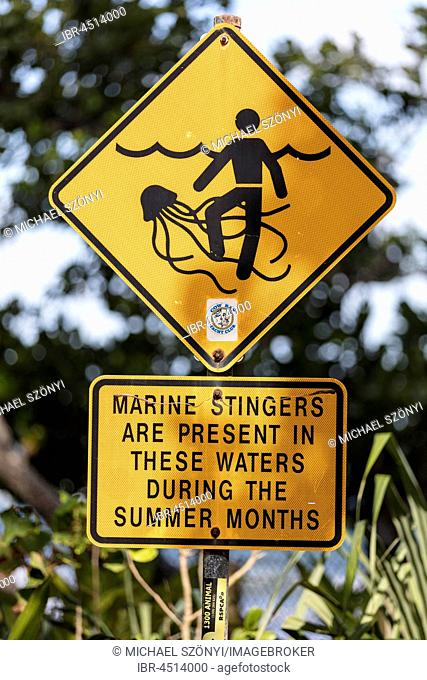 Warning sign on the beach, jellyfish in the water, Daintree National Park, Queensland, Australia