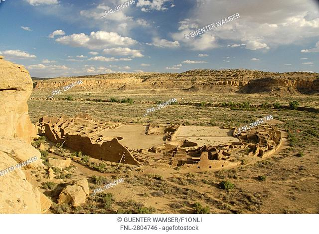 Ruins on landscape, Pueblo Bonito, Chaco Canyon, Chaco Culture National Historic Park, New Mexico, USA