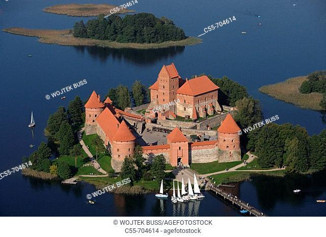Gothic castle (XIV-XVth century) on Lake Galve. Trakai. Lithuania