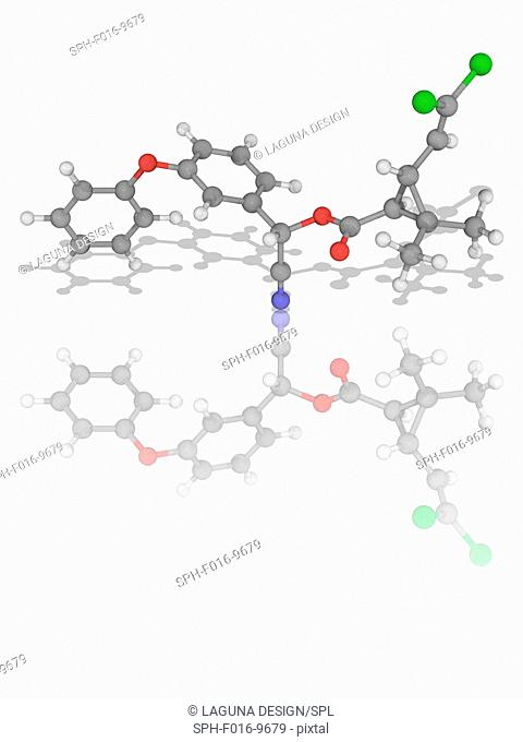 Cypermethrin. Molecular model of the synthetic organic compound cypermethrin (C22.H19.Cl2.N.O3), used as an insecticide. Atoms are represented as spheres and...