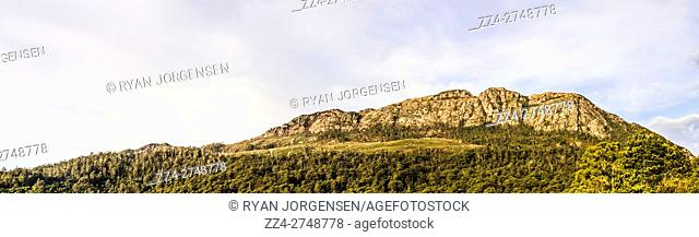 Large format combined photo panorama on a gorgeous detailed country mountain range in Tullah, the wild west of Tasmania. Mount Farrell Regional Reserve
