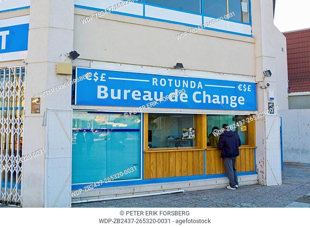 Bureau de Change, money exchange, at the border, Gibraltar, Europe