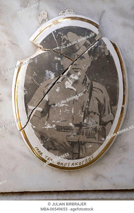 Europe, Greece, Kavala, old picture on a tomb, broken