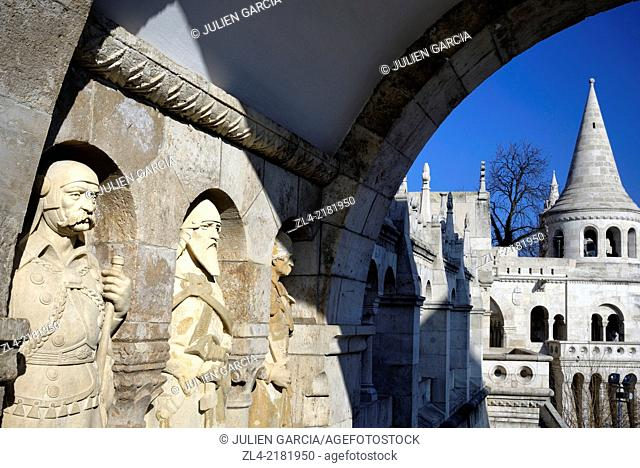 Statues of soldiers on guard at the The Fisherman's Bastion (Halaszbastya), terrace in neo-Gothic and neo-Romanesque style