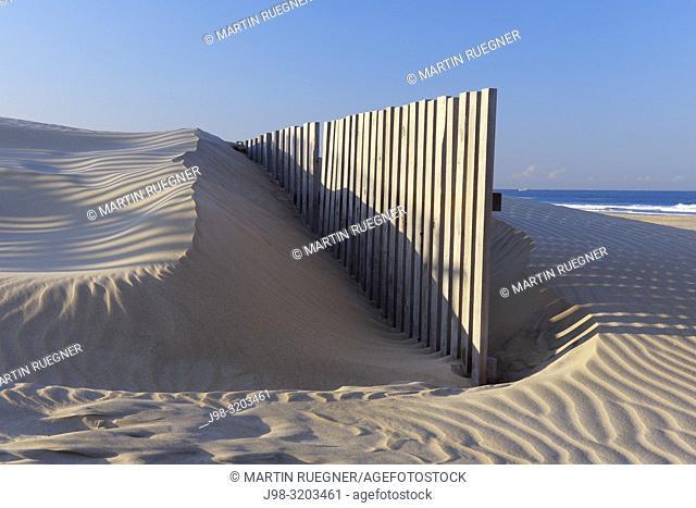 Sand Fence at Beach near Cadiz. Cadiz, Cadiz Province, Costa De La Luz, Andalusia, Spain, Europe