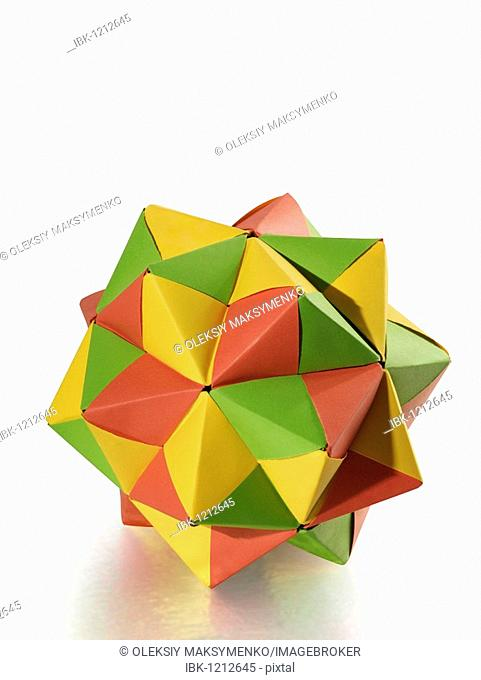 Colorful origami polyhedron figure