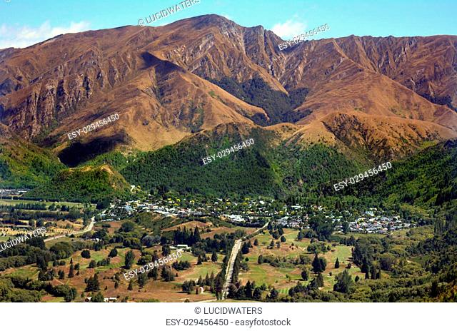 ARROWTOWN,NZ - JAN 17:Aerial view of Arrowtown on Jan 17 2014.It's a popular travel destination in New Zealand with well preserved buildings dating from the...