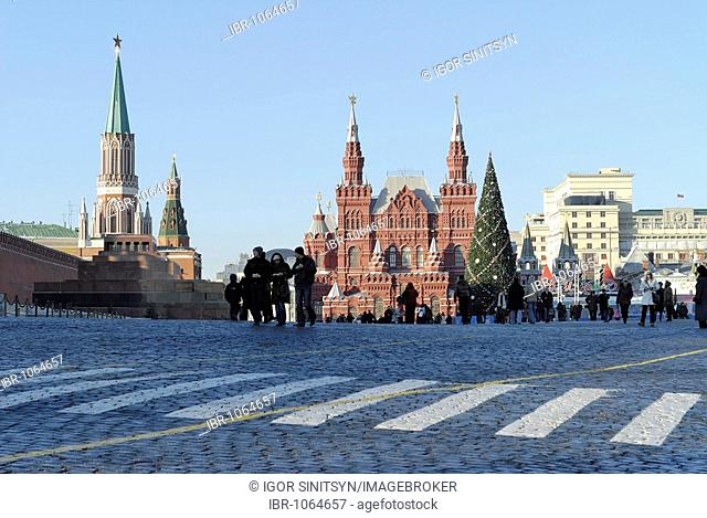 Building of the Historical Museum on the Red Square around Christmas, Moscow, Russia