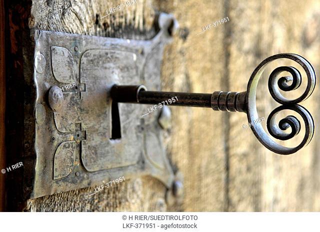 Key in the door, chapel, Berghaus Zallinger, Alpe di Siusi, Valle Isarco, South Tyrol, Trentino-Alto Adige, Italy