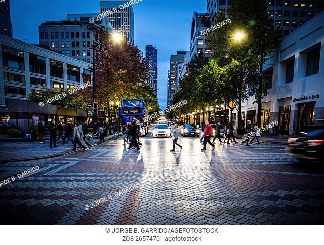Seattle Street Scene. Urban city life. Washington Satate