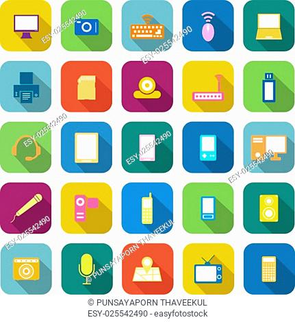 Gadget color icons with long shadow on white background