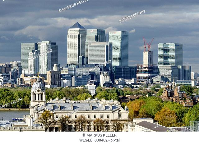 United Kingdom, View of old Royal Naval College and Financial district
