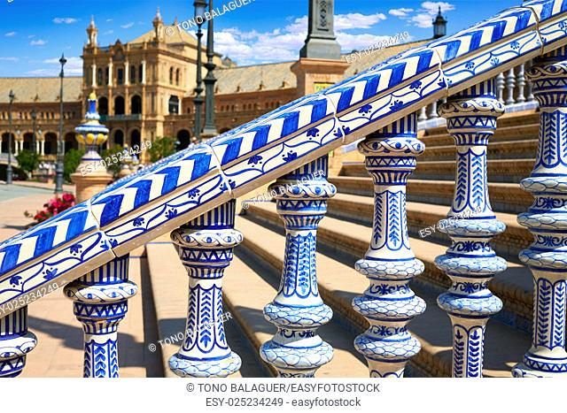 Seville Sevilla Plaza de Espana balustrade Andalusia Spain square