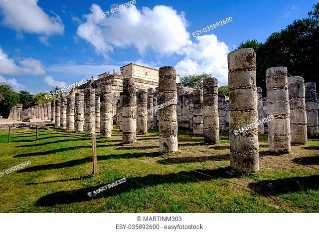 Stone columns and pilars in famous archeological site Chichen It