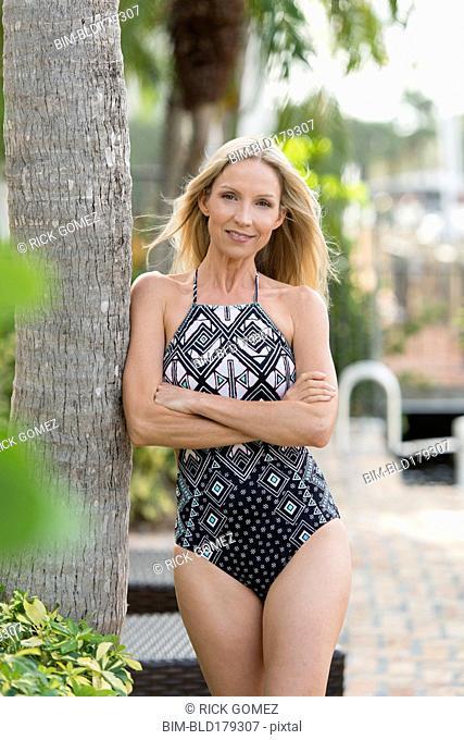 Caucasian woman wearing swimsuit outdoors