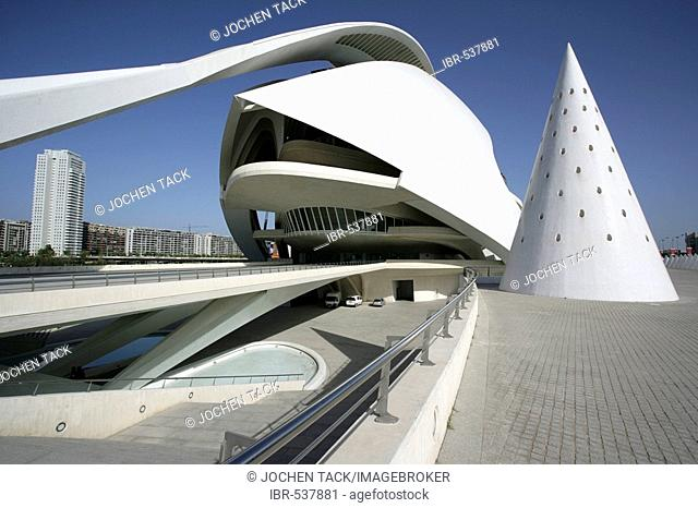 ESP, Spain, Valencia : Ciudad de las Artes Y de las Ciencias, City of arts and sciences. Palau de les Arts Reina Sofia, concert, theatre hall