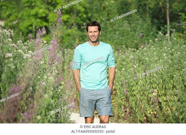 Mature man enjoying time outdoors, portrait