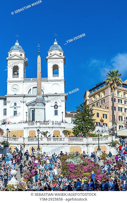Spanish Steps seen from Piazza di Spagna, Rome, Lazio, Italy, Europe