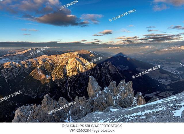 Picco di Vallandro, Dolomites, South Tyrol, Italy. The summit casts its shadow up in the Pustertal Valley