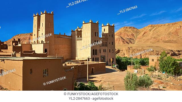 The Glaoui Kasbah's of Tamedaght in the Ounilla valley set surrounded by the hammada (stoney) desert in the foothills of the Altas mountains, Tamedaght, Morroco