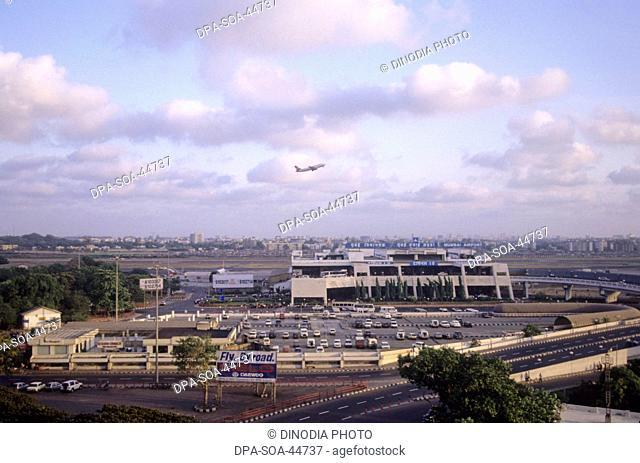 Aeroplane Take off and view of airport ; sahara airport ; santacruz ; bombay mumbai ; maharashtra ; india