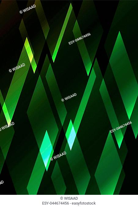 emeral crystal shine abstract background, diamond business template, facet technology background, vector illustration