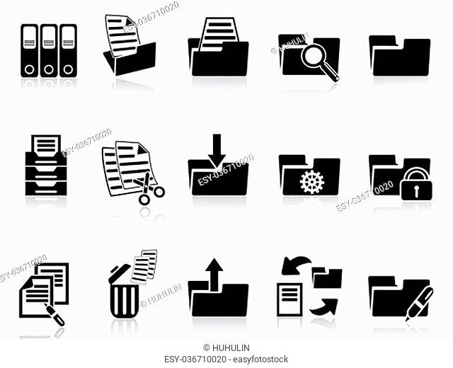 isolated black folder icons set from white background