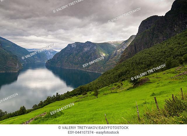 View at Aurlandfjord in cloudy weather, Stegastein viewpoint of Norway
