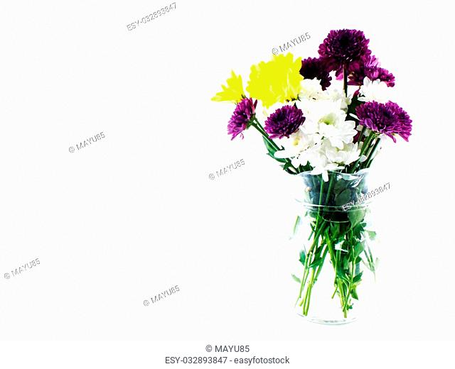 flowers and vase isolated on white background