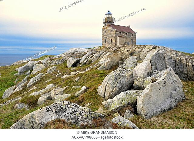 Restored granite lighthouse on the Atlantic Ocean Rose Blanche Newfoundland & Labrador Canada