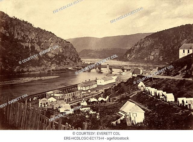 Harper's Ferry. Photograph shows what was left of the armory at Harpers Ferry, West Virginia, at the confluence of the Shenandoah and Potomac rivers