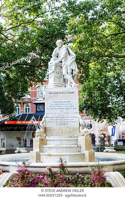 England, London, Soho, Leicester Square, Shakespeare Statue