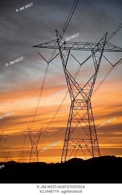 Palo Verde, Arizona - An electrical power line is silhouetted against the sunset in the Sonoran Desert