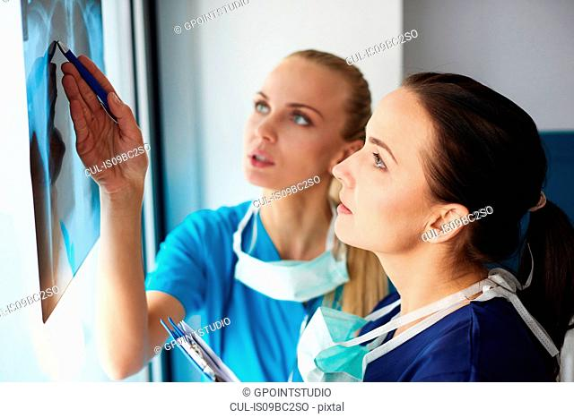 Two surgeons looking at x-ray